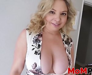 Mommy sucks rock solid cock and receives cum in mouth POV