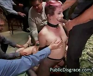 Two slave lesbians in orgy humiliation